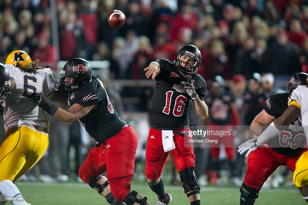 Quarterback Ryan Aplin #16 of the Arkansas State Red Wolves throws the ball during their game against the Kent State Golden Flashes on January 6, 2013 at Ladd-Peebles Stadium in Mobile, Alabama. Arkansas State defeated Kent State 17-13.