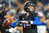 Quarterback Ryan Finley of the Boise State Broncos sets to pass the ball during their game against the Brigham Young Cougars at LaVell Edwards...