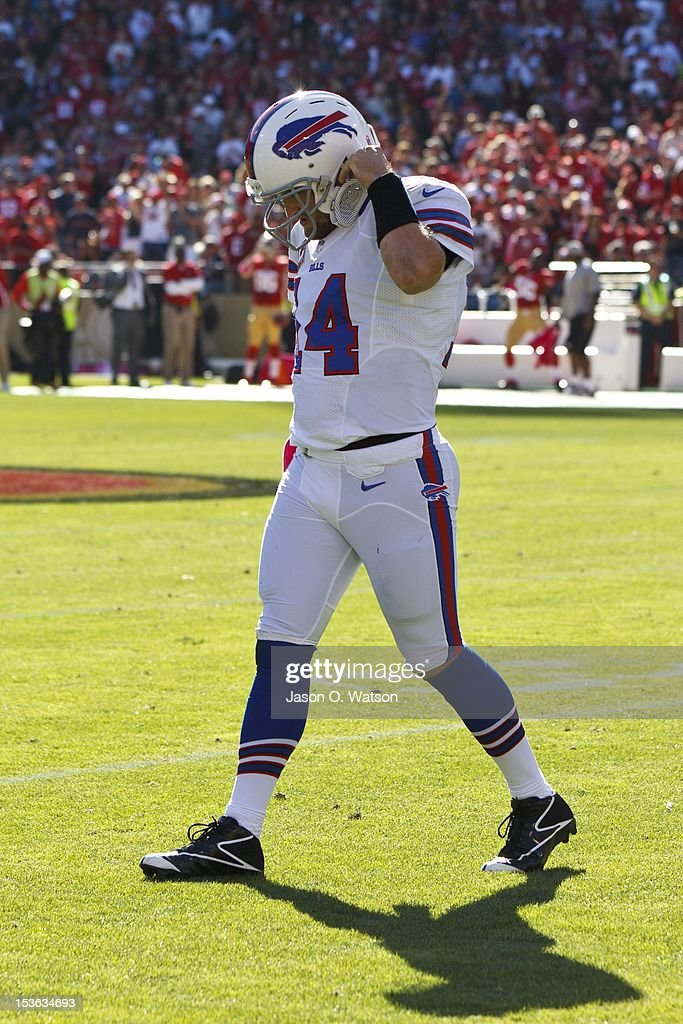 Quarterback Ryan Fitzpatrick #14 of the Buffalo Bills returns to the sidelines after throwing an interception against the San Francisco 49ers during the third quarter at Candlestick Park on October 7, 2012 in San Francisco, California. The San Francisco 49ers defeated the Buffalo Bills 45-3. Photo by Jason O. Watson/Getty Images)