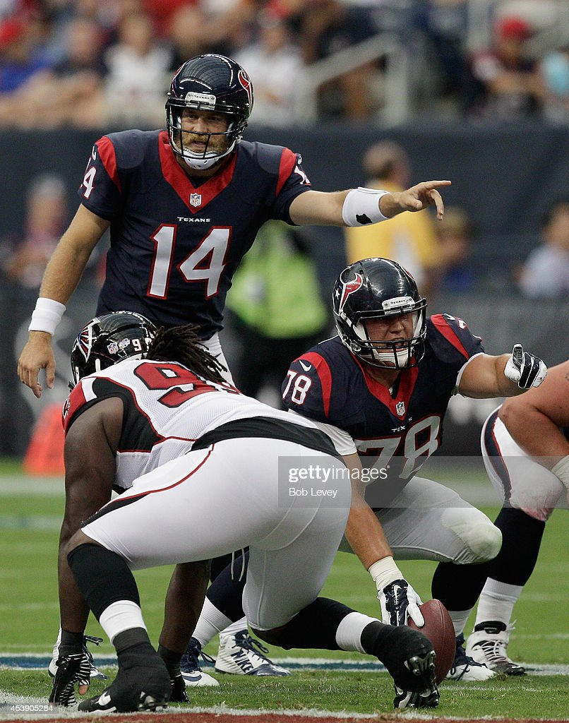 Quarterback Ryan Fitzpatrick #14 of the Houston Texans in action against the Atlanta Falcons at Reliant Stadium on August 16, 2014 in Houston, Texas.