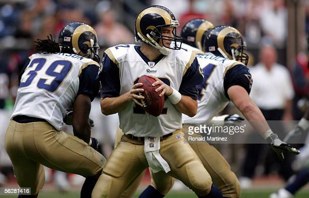 Quarterback Ryan Fitzpatrick of the St Louis Rams drops back to pass against the Houston Texans on November 27 2005 at Reliant Stadium in Houston...