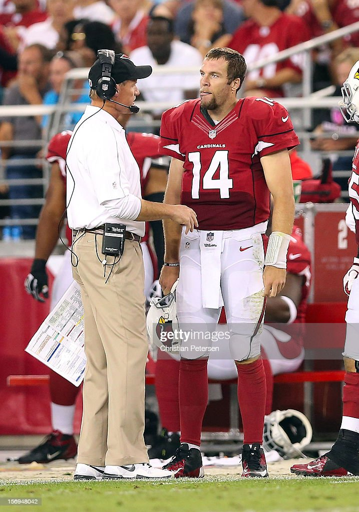 Quarterback Ryan Lindley #14 of the Arizona Cardinals talks with head coach Ken Whisenhunt on the sidelines during the NFL game against the St. Louis Rams at the University of Phoenix Stadium on November 25, 2012 in Glendale, Arizona. The Rams defeated the Cardinals 31-17.