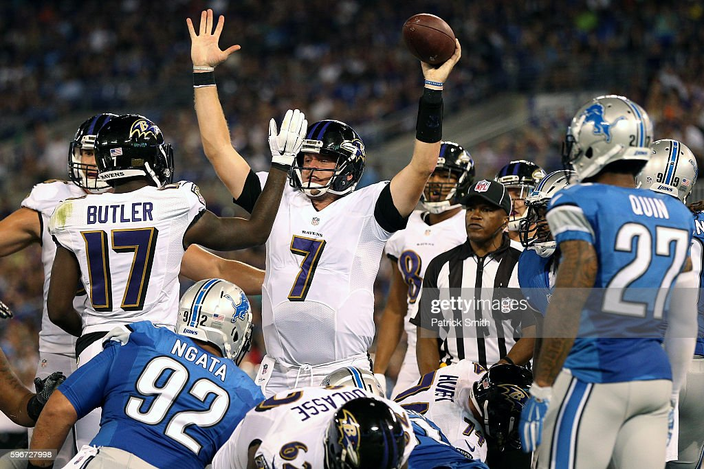 Quarterback Ryan Mallett of the Baltimore Ravens celebrates a second quarter touchdown against the Detroit Lions in their preseason game at MT Bank...