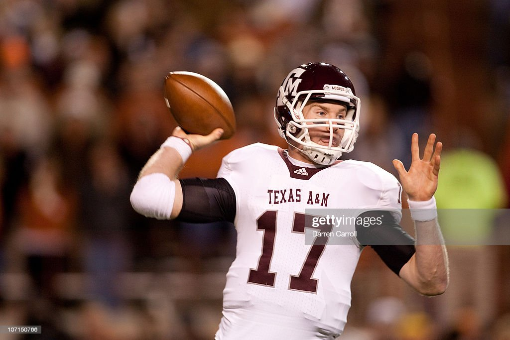 Quarterback Ryan Tannehill #17 of Texas A&M during the game against University of Texas in the first half at Darrell K. Royal-Texas Memorial Stadium on November 25, 2010 in Austin, Texas.