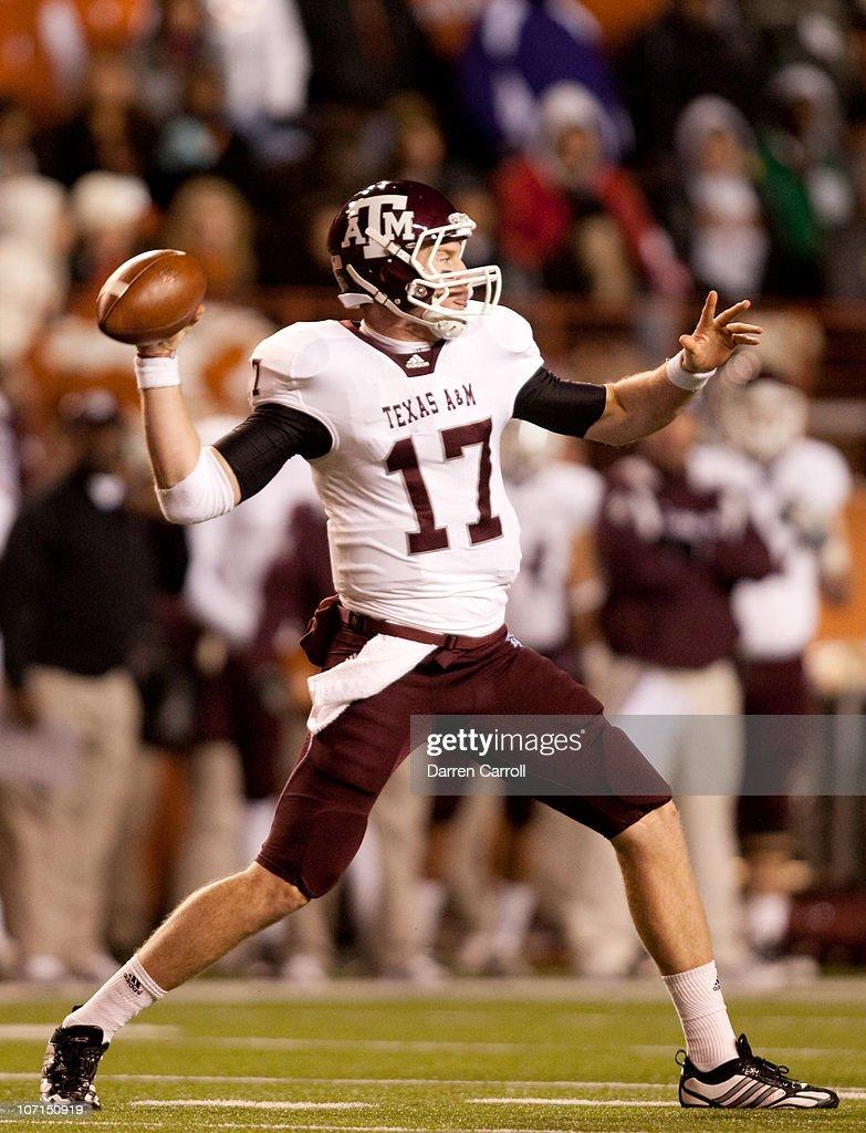 Quarterback Ryan Tannehill #17 of Texas A&M passes against the University of Texas during the second half at Darrell K. Royal-Texas Memorial Stadium on November 25, 2010 in Austin, Texas.