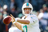 Quarterback Ryan Tannehill of the Miami Dolphins looks to pass during warmups before the game against the Philadelphia Eagles at Lincoln Financial...