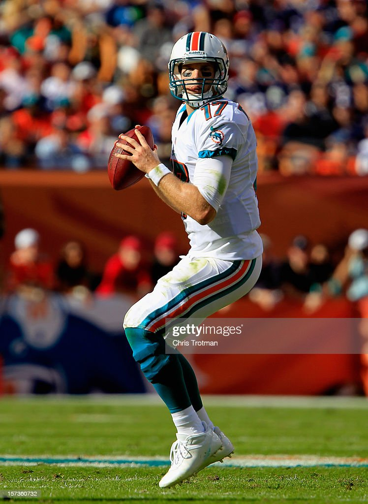 Quarterback Ryan Tannehill #17 of the Miami Dolphins prepares to throw the ball against the New England Patriots at Sun Life Stadium on December 2, 2012 in Miami Gardens, Florida.