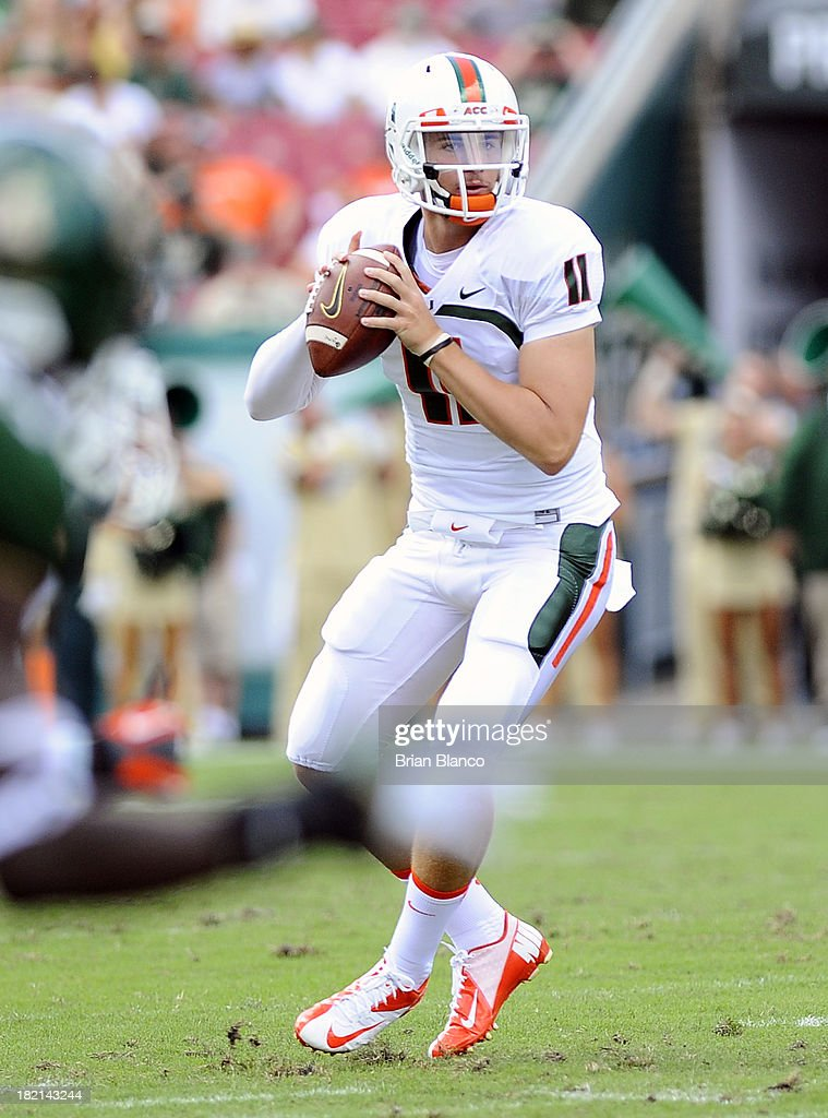 Quarterback Ryan Williams #11 of the Miami Hurricanes looks for a receiver during the second quarter against the South Florida Bulls on September 28, 2013 at Raymond James Stadium in Tampa, Florida.