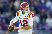 Quarterback Sam B Richardson of the Iowa State Cyclones throws a pass during the third quarter of the Big 12 college football game against the TCU...