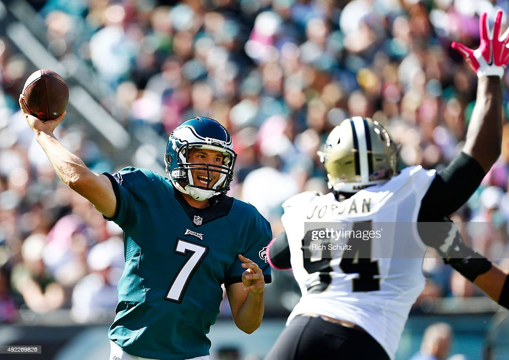 Quarterback Sam Bradford of the Philadelphia Eagles passes as Cameron Jordan of the New Orleans Saints defends in the first quarter during a game at...
