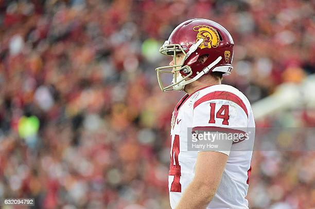 Quarterback Sam Darnold of the USC Trojans looks on against the Penn State Nittany Lions during the 2017 Rose Bowl Game presented by Northwestern...