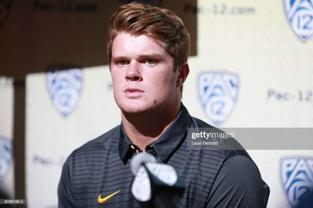 Quarterback Sam Darnold of the USC Trojans speaks to the media during PAC12 Media Days on July 27, 2017 in Hollywood, California.