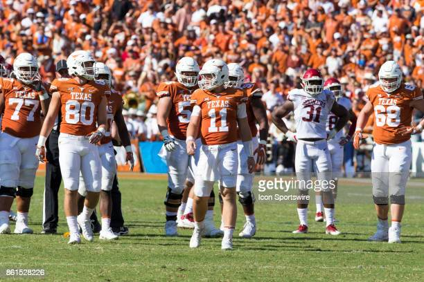 quarterback Sam Ehlinger of the Texas Longhorns during the Oklahoma Sooners and the Texas Longhorns Red River Showdown game on October 14 2017 at the...