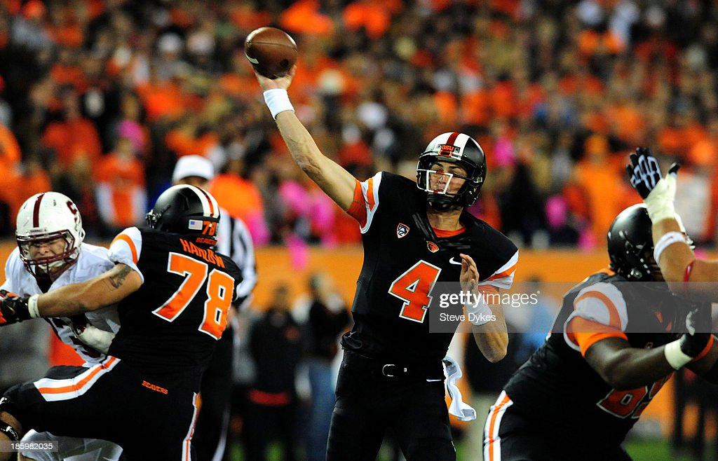 Quarterback <a gi-track='captionPersonalityLinkClicked' href=/galleries/search?phrase=Sean+Mannion&family=editorial&specificpeople=8221853 ng-click='$event.stopPropagation()'>Sean Mannion</a> #4 of the Oregon State Beavers passes the ball during the first quarter of the game against the Stanford Cardinal at Reser Stadium on October 26, 2013 in Corvallis, Oregon.