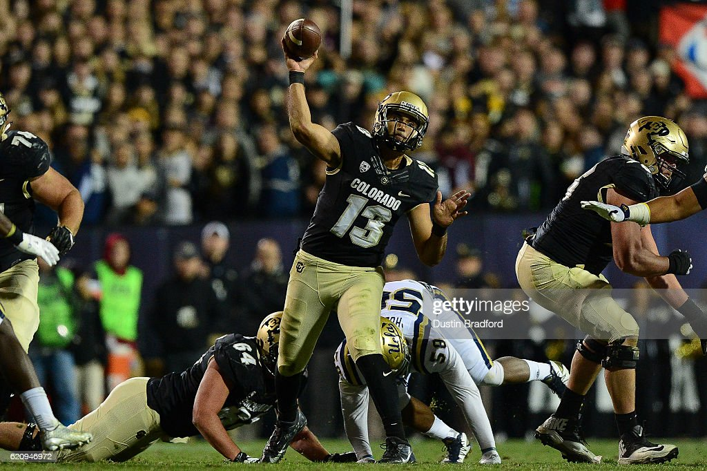 Quarterback Sefo Liufau #13 of the Colorado Buffaloes passes against the UCLA Bruins at Folsom Field on November 3, 2016 in Boulder, Colorado.