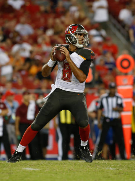 ... Quarterback Sefo Liufau 8 of the Tampa Bay Buccaneers looks for an open  receiver during ... 777e504fc