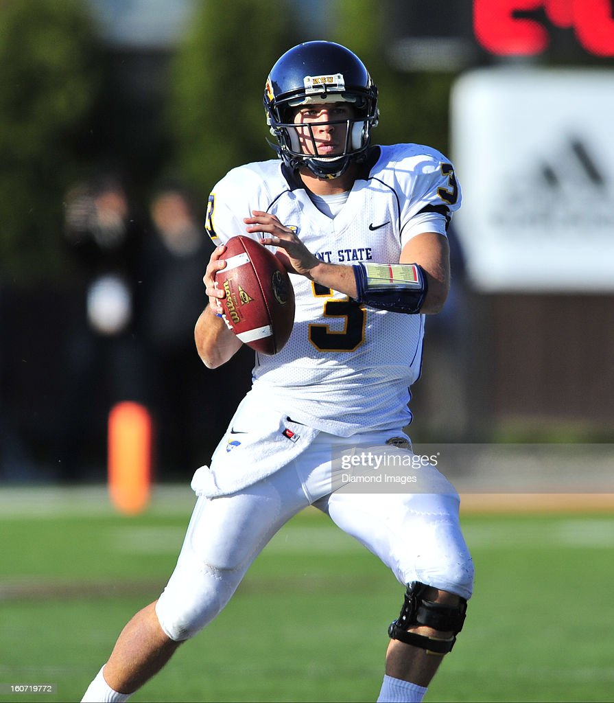 Quarterback Spencer Keith #3 of the Kent State Golden Flashes rolls out to pass during a game with the Bowling Green Falcons at Dolt L. Perry Stadium in Bowling Green, Ohio. The Kent State Golden Flashes won 31-24.