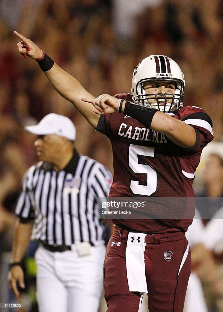 Quarterback Stephen Garcia #5 of the South Carolina Gamecocks celebrates after throwing a touchdown pass in the third quarter of their game against the Mississippi Rebels at Williams-Brice Stadium on September 24, 2009 in Columbia, South Carolina.