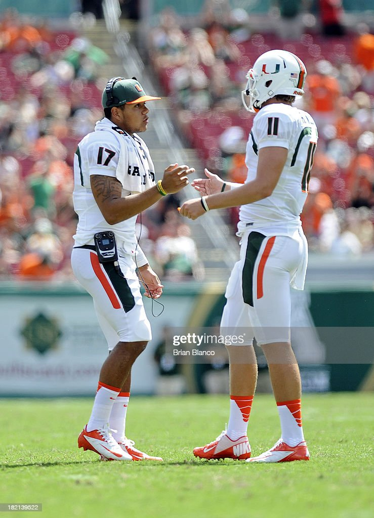 Quarterback Stephen Morris #17 of the Miami Hurricanes congratulates fellow quarterback and teammate Ryan Williams #11 following a touchdown play during the third quarter against the South Florida Bulls on September 28, 2013 at Raymond James Stadium in Tampa, Florida.