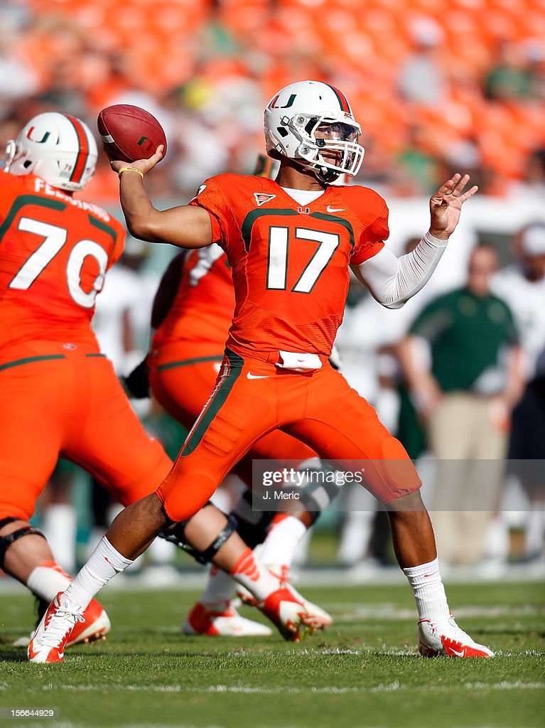 Quarterback Stephen Morris #17 of the Miami Hurricanes throws a pass against the South Florida Bulls during the game at Sun Life Stadium on November 17, 2012 in Miami Gardens, Florida.