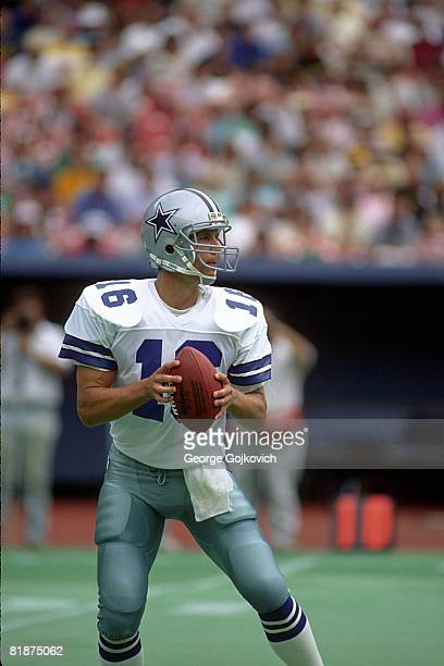 Quarterback Steve Pelluer of the Dallas Cowboys looks to pass against the Pittsburgh Steelers at Three Rivers Stadium on September 4 1988 in...