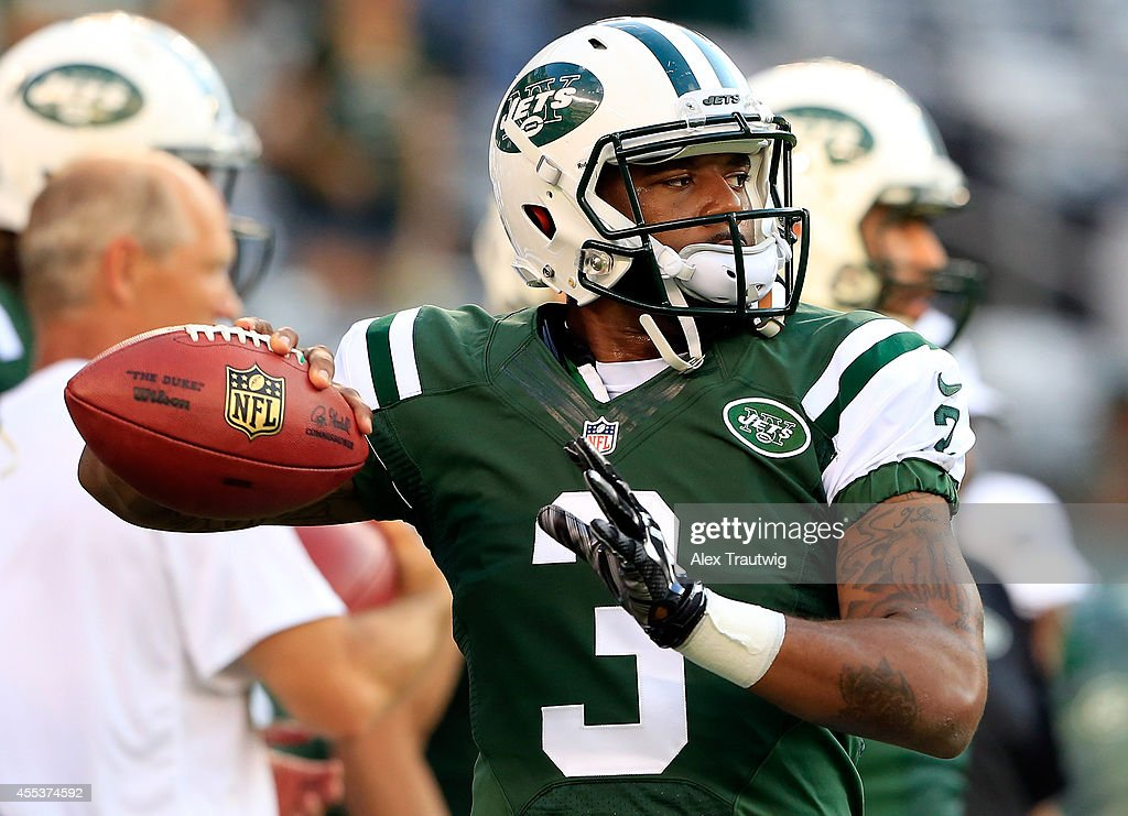 quarterback <a gi-track='captionPersonalityLinkClicked' href=/galleries/search?phrase=Tajh+Boyd&family=editorial&specificpeople=7352415 ng-click='$event.stopPropagation()'>Tajh Boyd</a> #3 of the New York Jets warms up prior to a preseason game against the Indianapolis Colts at MetLife Stadium on August 7, 2014 in East Rutherford, New Jersey.