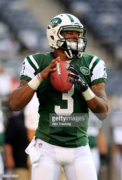 quarterback Tajh Boyd of the New York Jets warms up prior to a preseason game against the Indianapolis Colts at MetLife Stadium on August 7 2014 in...
