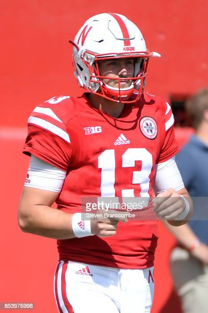 Quarterback Tanner Lee of the Nebraska Cornhuskers warms up before the game against the Rutgers Scarlet Knights at Memorial Stadium on September 23...