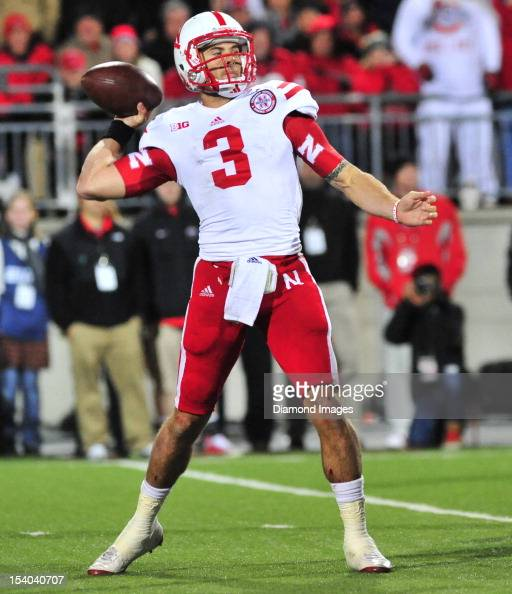 Quarterback Taylor Martinez of the Nebraska Cornhuskers throws a pass during a game with the Ohio State Buckeyes at Ohio Stadium in Columbus Ohio The...