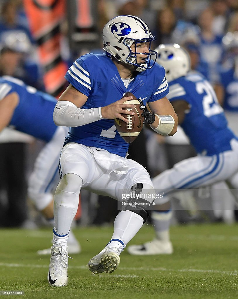 Quarterback Taysom Hill #7 of the Brigham Young Cougars looks to pass the ball in the first quarter against the Mississippi State Bulldogs at LaVell Edwards Stadium on October 14, 2016 in Provo Utah.