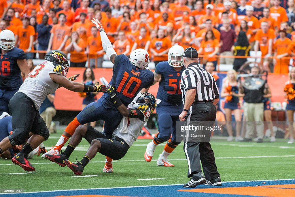 Quarterback Terrel Hunt #10 of the Syracuse Orange dives into the end zone to score making the score 14-13 Maryland Terrapins leading during the second quarter on September 20, 2014 at The Carrier Dome in Syracuse, New York. Maryland defeats Syracuse 34-20.