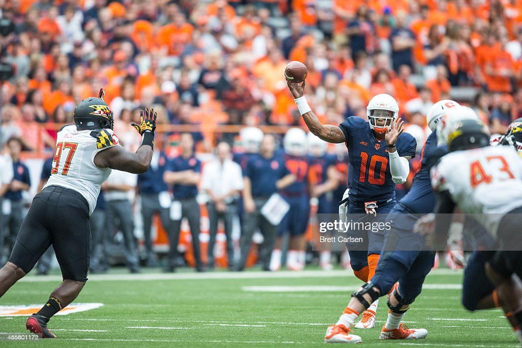 Quarterback Terrel Hunt #10 of the Syracuse Orange throws downfield during the first quarter against the Maryland Terrapins on September 20, 2014 at The Carrier Dome in Syracuse, New York. Maryland defeats Syracuse 34-20.