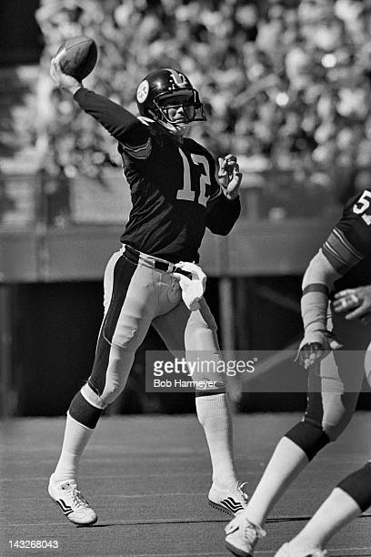 Quarterback Terry Bradshaw of the Pittsburgh Steelers throws a pass against the Cincinnati Bengals on October 14 at Riverfront Stadium in Cinncinati...