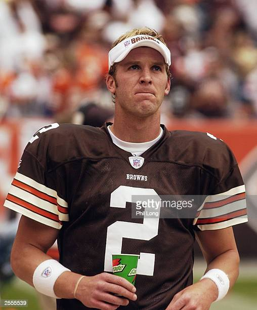 Quarterback Tim Couch of the Cleveland Browns drinks Gatorade during a game against the Cincinnati Bengals at Cleveland Browns Stadium on September...