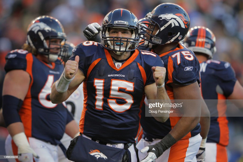 Quarterback <a gi-track='captionPersonalityLinkClicked' href=/galleries/search?phrase=Tim+Tebow&family=editorial&specificpeople=2729658 ng-click='$event.stopPropagation()'>Tim Tebow</a> #15 of the Denver Broncos celebrates his second quarter rushing touchdown against the Pittsburgh Steelers at Sports Authority Field at Mile High on January 8, 2012 in Denver, Colorado. The Broncos defeated the Steelers 29-23 in overtime.