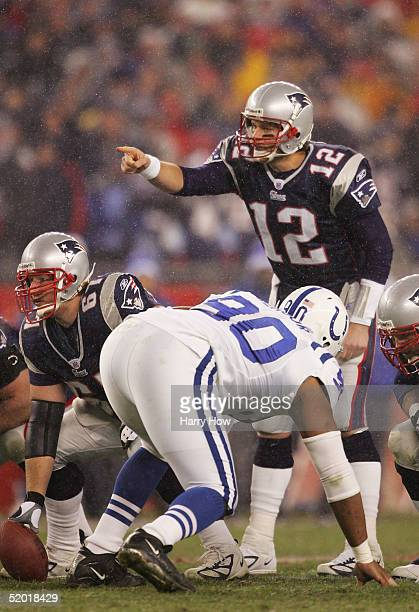 Quarterback Tom Brady of the New England Patriots calls a play during the AFC divisional playoff game against the Indianapolis Colts at Gillette...