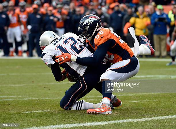 Quarterback Tom Brady of the New England Patriots gets sacked by outside linebacker Von Miller of the Denver Broncos in the third quarter The Denver...