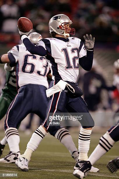 Quarterback Tom Brady of the New England Patriots passes against The New York Jets on December 26 2004 at Giants Stadium in East Rutherford New Jersey