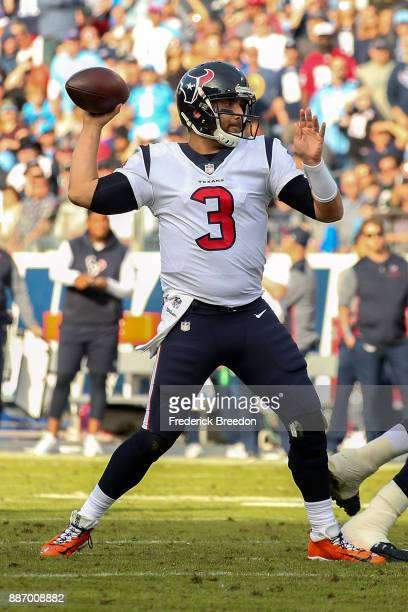 Quarterback Tom Savage of the Houston Texans plays against the Tennessee Titans at Nissan Stadium on December 3 2017 in Nashville Tennessee