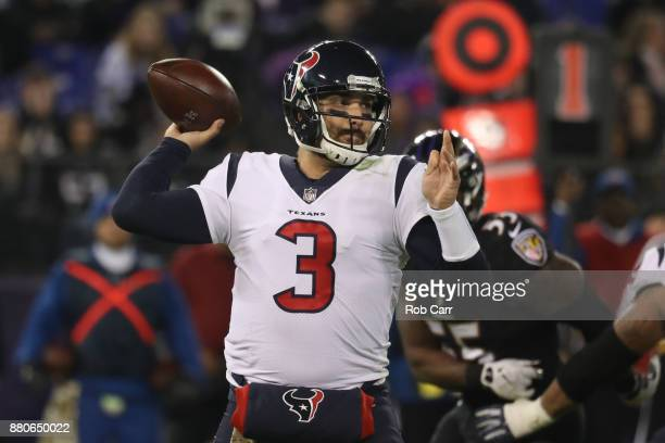 quarterback Tom Savage of the Houston Texans throws the ball in the third quarter against the Baltimore Ravens at MT Bank Stadium on November 27 2017...