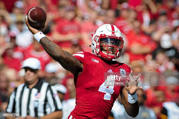 Quarterback Tommy Armstrong Jr #4 of the Nebraska Cornhuskers throws over the Southern Miss Golden Eagles during their game at Memorial Stadium on...