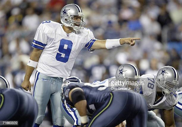 Quarterback Tony Romo of the Dallas Cowboys calls the audible during the preseason game against the Seattle Seahawks on August 12 2006 at Qwest Field...