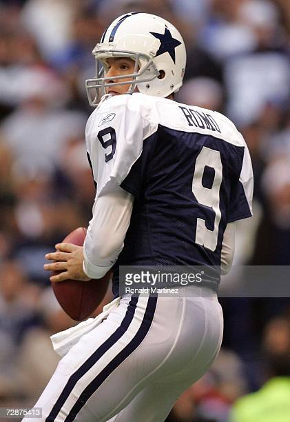 Quarterback Tony Romo of the Dallas Cowboys drops back to pass against the Philadelphia Eagles at Texas Stadium on December 25 2006 in Irving Texas