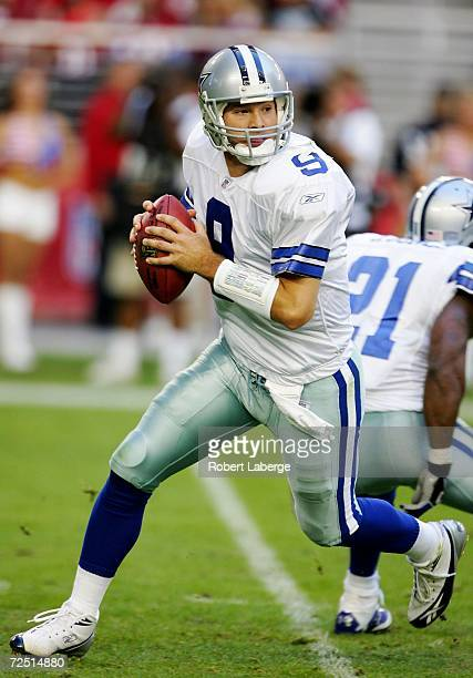 Quarterback Tony Romo of the Dallas Cowboys during the second half of the game against the Arizona Cardinals on November 12 2006 at University of...