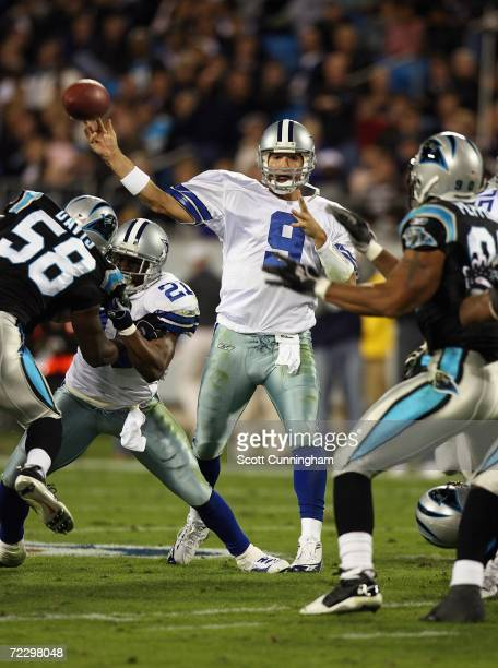 Quarterback Tony Romo of the Dallas Cowboys passes against the Carolina Panthers at Bank Of America Stadium on October 29 2006 in Charlotte North...