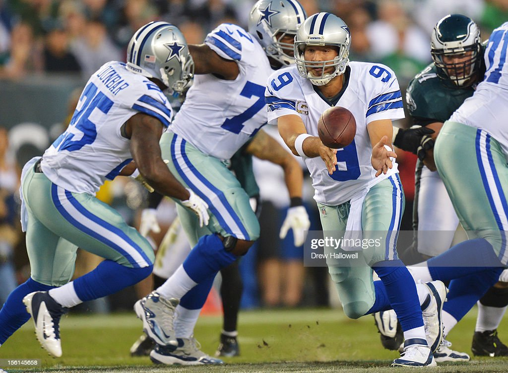 Quarterback Tony Romo #9 of the Dallas Cowboys pitches the ball during the game against the Philadelphia Eagles at Lincoln Financial Field on November 11, 2012 in Philadelphia, Pennsylvania. The Cowboys won 38-23.