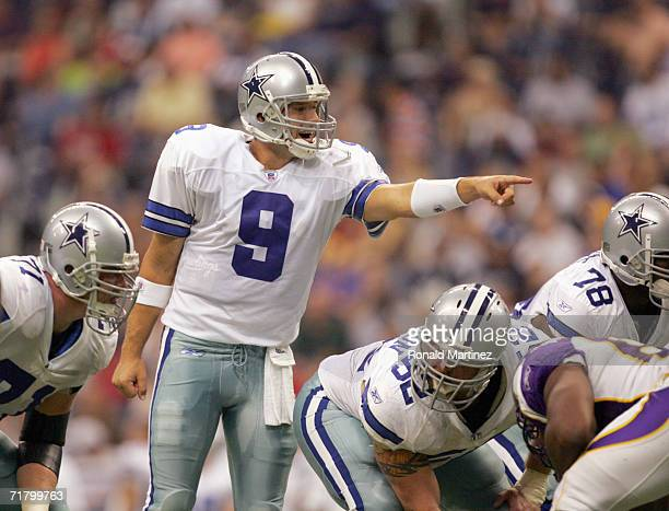 Quarterback Tony Romo of the Dallas Cowboys points on the line during the preseason game against the Minnesota Vikings on August 31 2006 at Texas...