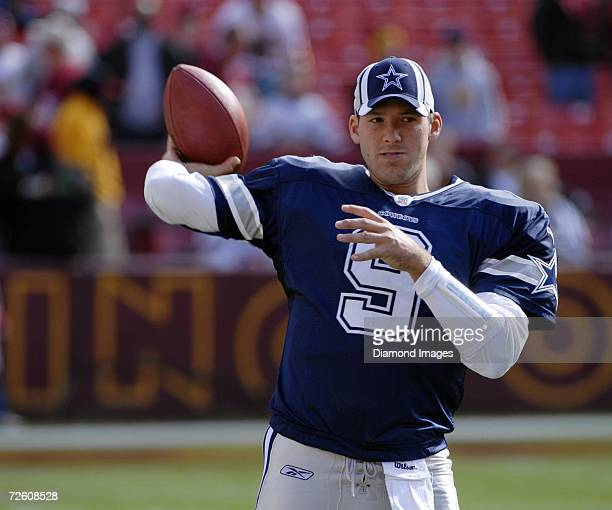 Quarterback Tony Romo of the Dallas Cowboys prior to a game on November 5 2006 against the Washington Redskins at Fedex Field in Landover Maryland
