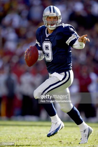 Quarterback Tony Romo of the Dallas Cowboys rolls out while looking to pass against the Washington Redskins on November 5 2006 at FedEx Field in...
