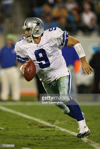Quarterback Tony Romo of the Dallas Cowboys scrambles against the Carolina Panthers at Bank Of America Stadium on October 29 2006 in Charlotte North...